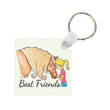 Square MDF wood key-ring best friends girl and horse image front view