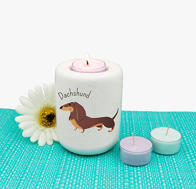 Ceramic tealight candle holder with dachshund cartoon dog image front view