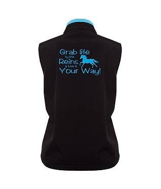 Ladies horse soft shell vest black with aqua trim take life by the reins image back view image
