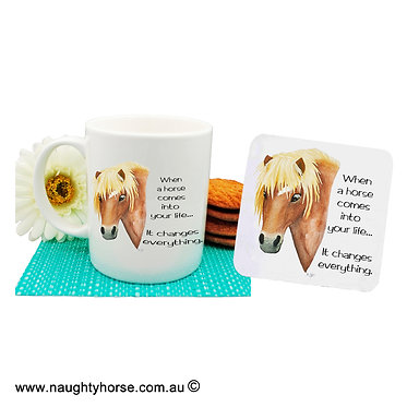 "Ceramic coffee mug and drink coaster set with horse and quote ""when a horse"" image front view"
