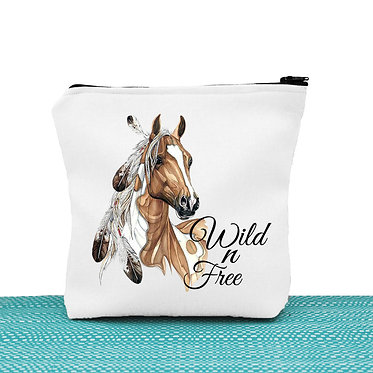 Cosmetic toiletry bag with zipper paint horse wild n free image front view