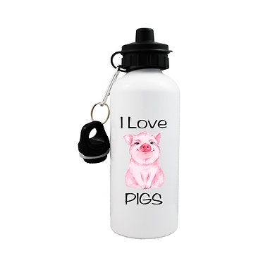 Sports water bottle i love pigs image front view lid on
