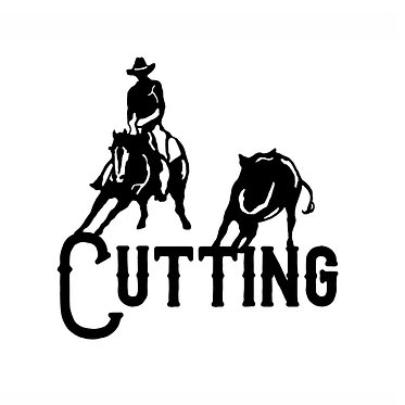 Cutting horse decal sticker front view