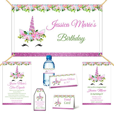 Flower unicorn birthday party pack printable digital file front view