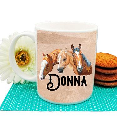 Personalised ceramic coffee mug three horses image front view
