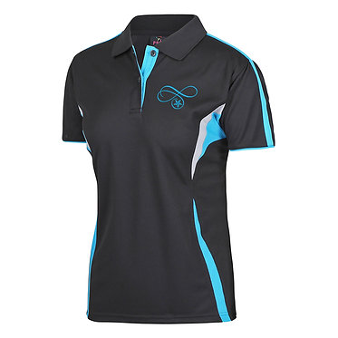 Ladies cool polo shirt black aqua western rider on scroll image front view