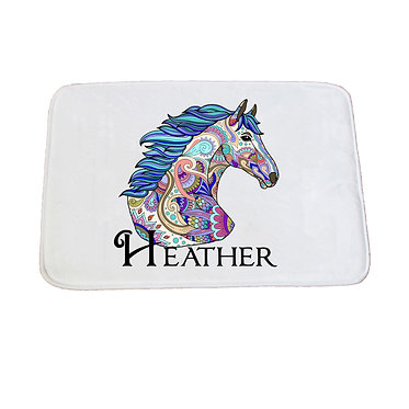 Personalised non-slip bath mat painted horse image front view