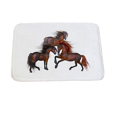 Non-slip bath mat three beautiful horses image front view