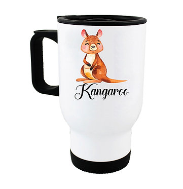 Travel mug with Australian Kangaroo image front view