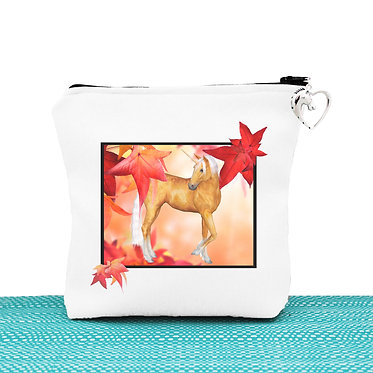 White cosmetic toiletry bag with zip unicorn in autumn leaves image front view