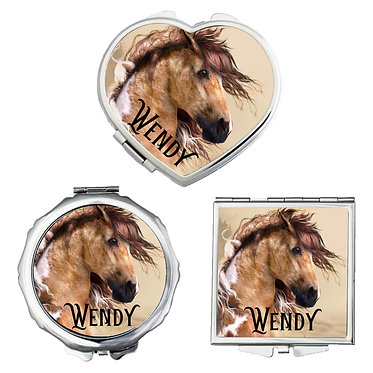 Set of three compact mirrors personalised wild paint horse image front view