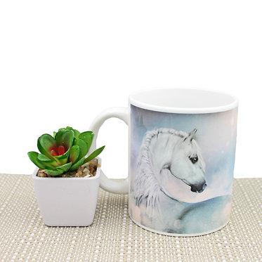 Pastel horse ceramic coffee mug front view