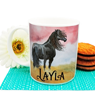 Personalised ceramic coffee mug black horse image front view