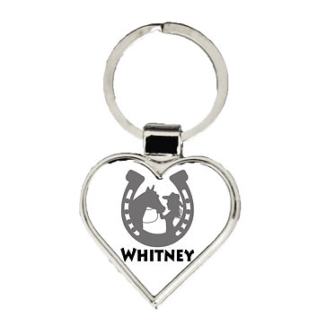 Heart shape metal key-ring black grey horse and girl in horseshoe image front view