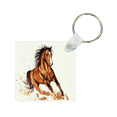 Square MDF wood key-ring brown horse cantering image front view