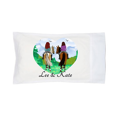 Personalised white pillowcase best friends horse riding image front view