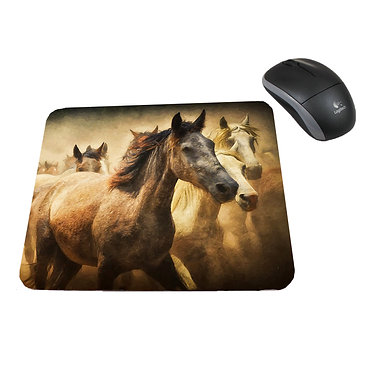 Neoprene computer mouse pad wild horses image front view
