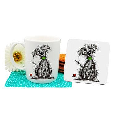 Dog themed coffee mug and coaster set with beautiful scruffy dog image front view