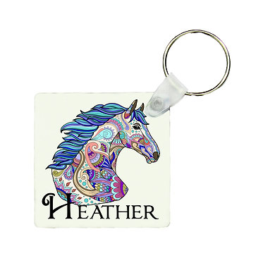 Square MDF wood key-ring painted horse image front view