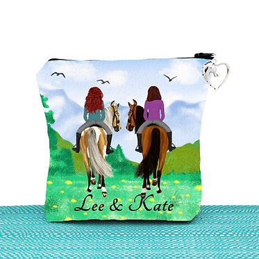 Cosmetic toiletry bag with zipper personalised best friends horse riding image front view