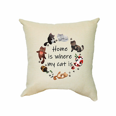 Tan cushion cover with zip 40cm x 40cm home is where my cat is image front view