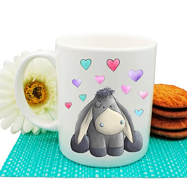 Ceramic coffee mug donkey with hearts image front view