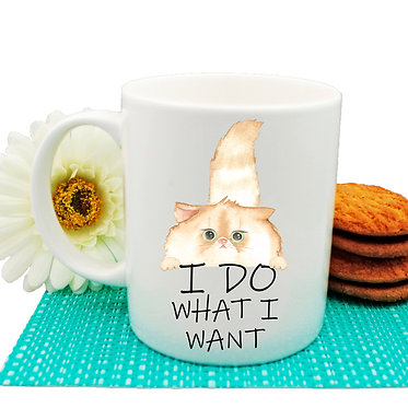 "Ceramic coffee mug cat and quote ""I do what I want"" image front view"
