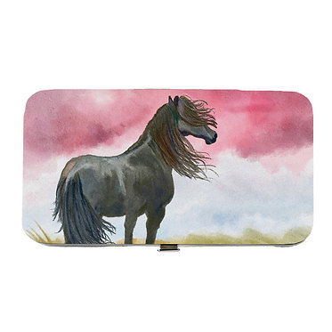 Ladies hard case purse wallet with mobile phone mount inside black horse image view