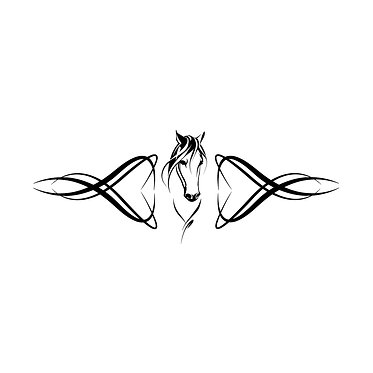 Horse with scrolls decal sticker front view