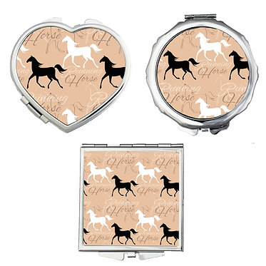 Compact mirrors in 3 shapes heart, round and square running horse pattern image front view
