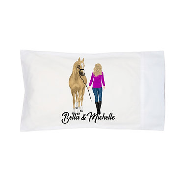Personalised horse pillow case blond haired girl and horse image front right facing view