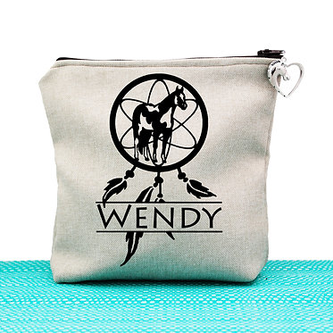 Tan cosmetic toiletry bag with zipper personalised paint horse dream catcher image front view