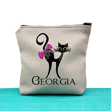 Tan cosmetic toiletry bag with zipper personalized with name and cat with bow image front view