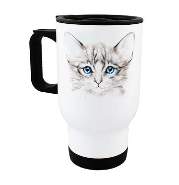 Travel mug kitten with blue eyes image front view