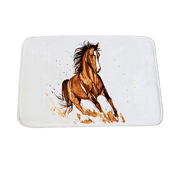 Non-slip bath mat white brown horse cantering image front view
