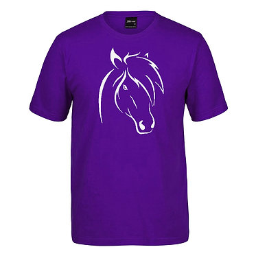 Adults t-shirt purple with cute horse image front view