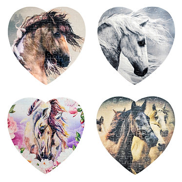 Heart shape horse theme jigsaw puzzle small with 4 horse designs to choose from front view