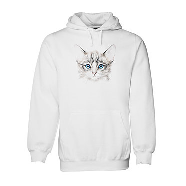 Hoodie jumper white with kitten face front view