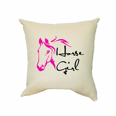 Horse girl pink image tan cushion cover front view