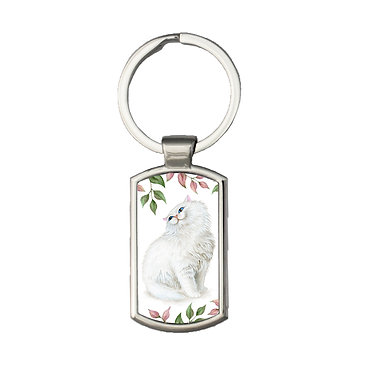 Rectangle metal key ring with white cat and leaves image front view