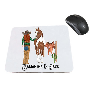 Neoprene computer mouse pad personalised red haired cowgirl and horse image front view