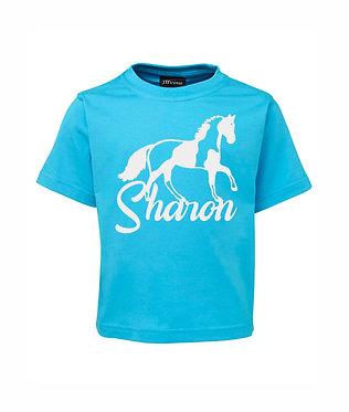 Personalised aqua kids cotton t-shirt paint horse image front view