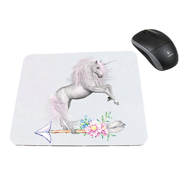 Computer mouse pad neoprene white unicorn on arrow image front view