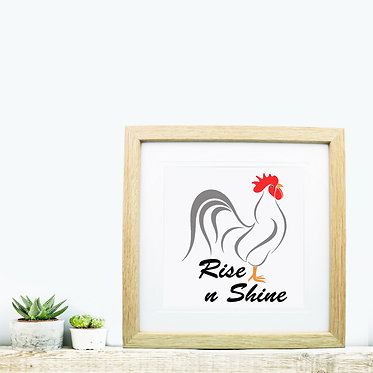 Square wood picture frame with rooster rise n shine image front view