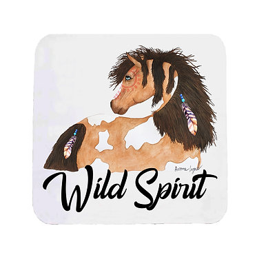 Neoprene drink coaster with wild spirit horse image front view