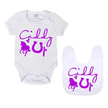 Baby romper play suit and matching bib gift set white with purple giddy up horse image front view