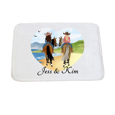 Personalised bath mat best friends beach riding image front view