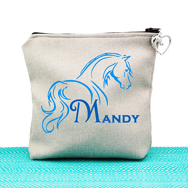 Tan cosmetic toiletry bag with zipper personalised horse looking away blue image front view
