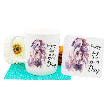 "Ceramic coffee mug and drink coaster set with horse and quote ""Every day is a good day"" image front view"