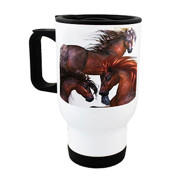 Travel mug stainless steel with three horses image front view